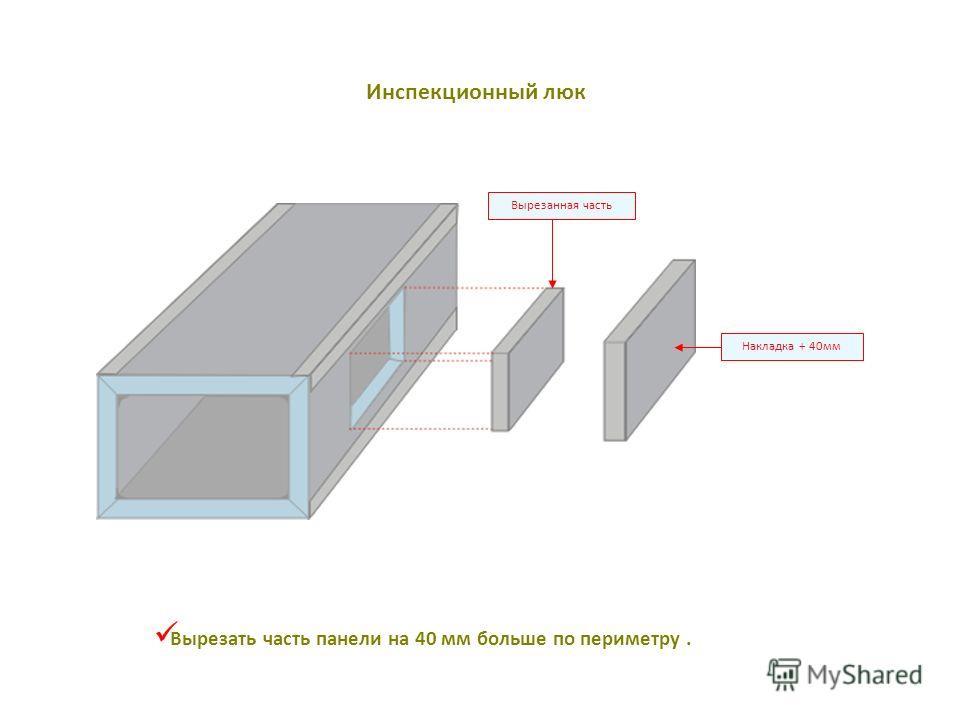 Накладка + 40мм Вырезанная часть Вырезать часть панели на 40 мм больше по периметру. Инспекционный люк