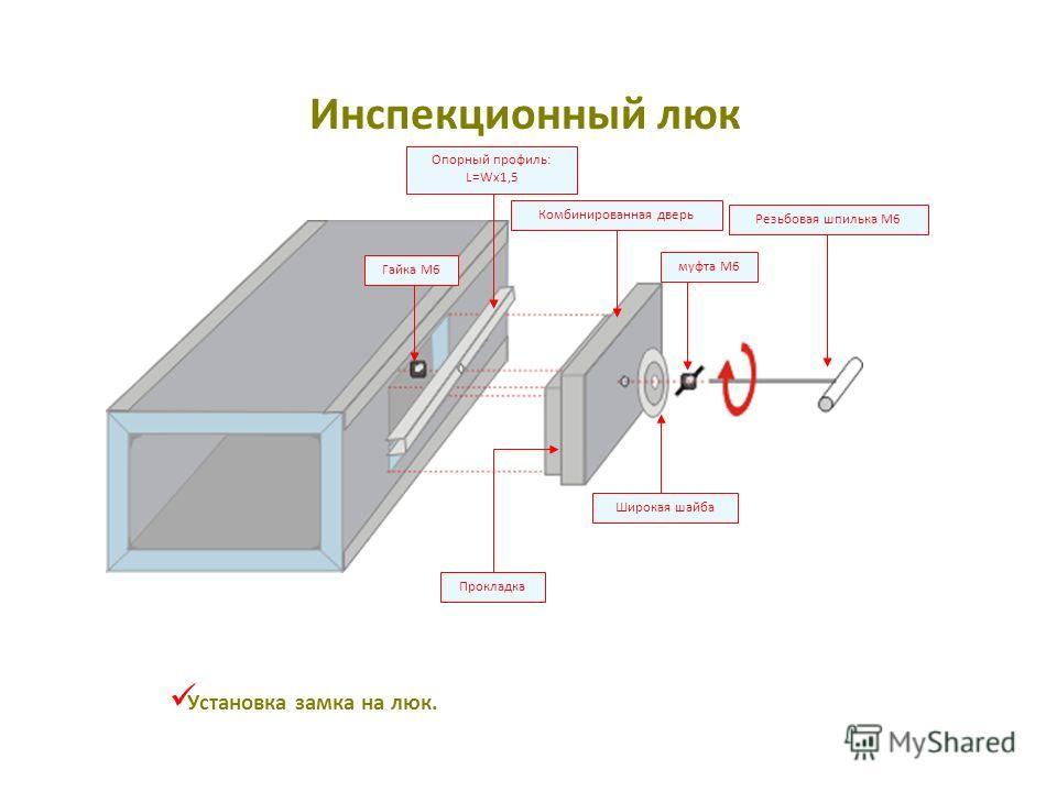 муфта M6 Широкая шайба Резьбовая шпилька M6 Опорный профиль: L=Wx1,5 Гайка M6 Прокладка Комбинированная дверь Установка замка на люк. Инспекционный люк
