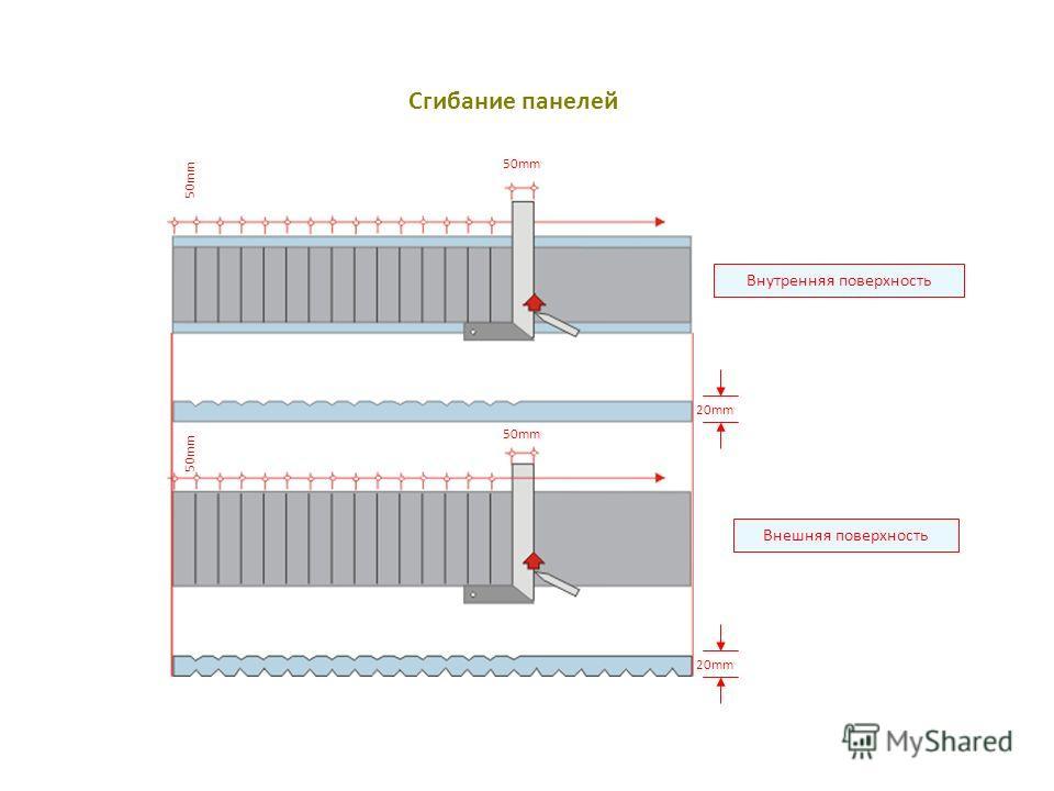 Сгибание панелей Внешняя поверхность Внутренняя поверхность 50mm 20mm