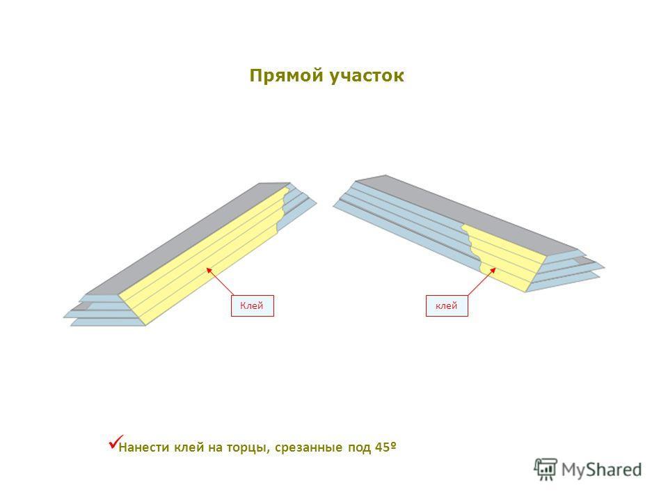 Клейклей Нанести клей на торцы, срезанные под 45º Прямой участок