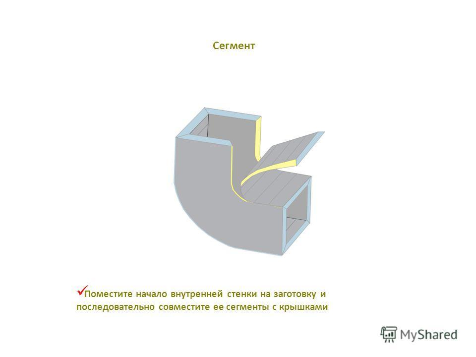Поместите начало внутренней стенки на заготовку и последовательно совместите ее сегменты с крышками Сегмент