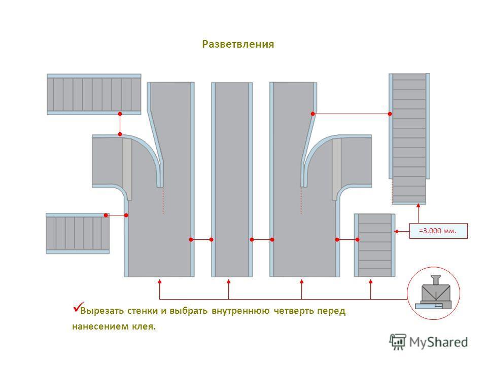 =3.000 мм. Вырезать стенки и выбрать внутреннюю четверть перед нанесением клея. Разветвления