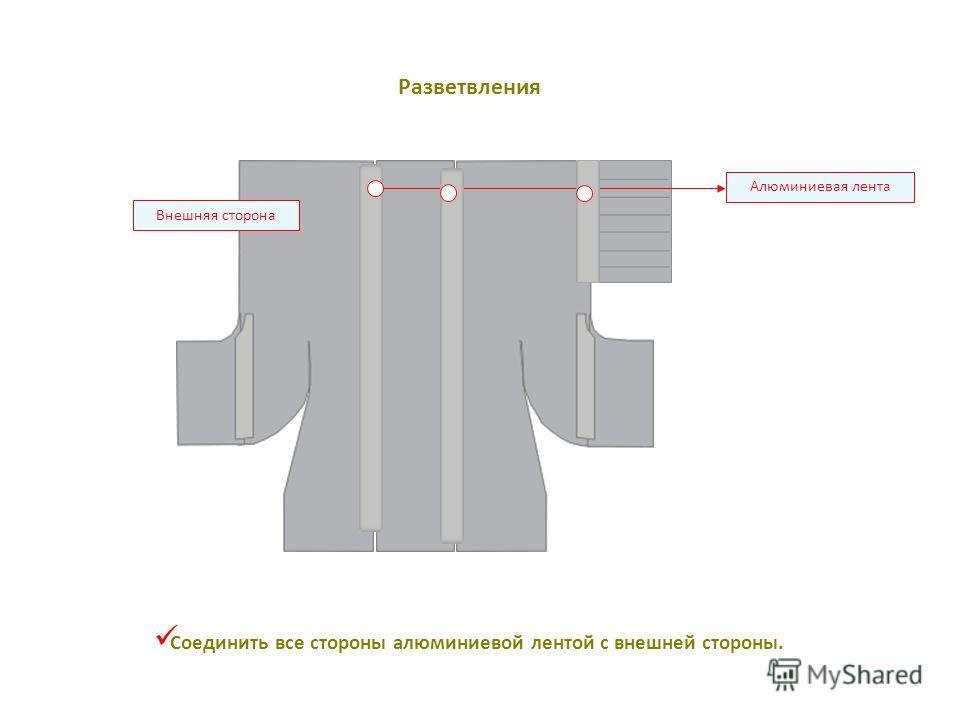 Алюминиевая лента Внешняя сторона Соединить все стороны алюминиевой лентой с внешней стороны. Разветвления