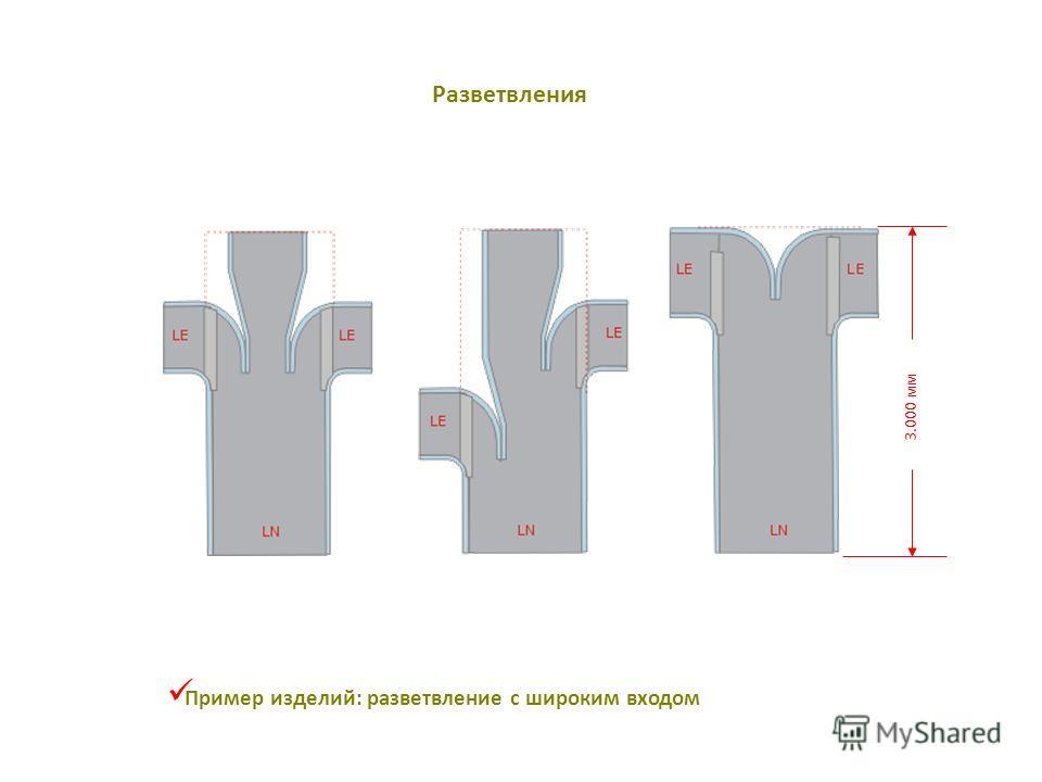 3.000 мм Пример изделий: разветвление с широким входом Разветвления