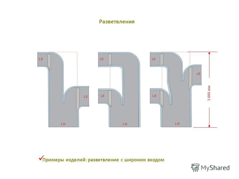 3.000 мм Примеры изделий: разветвление с широким входом Разветвления