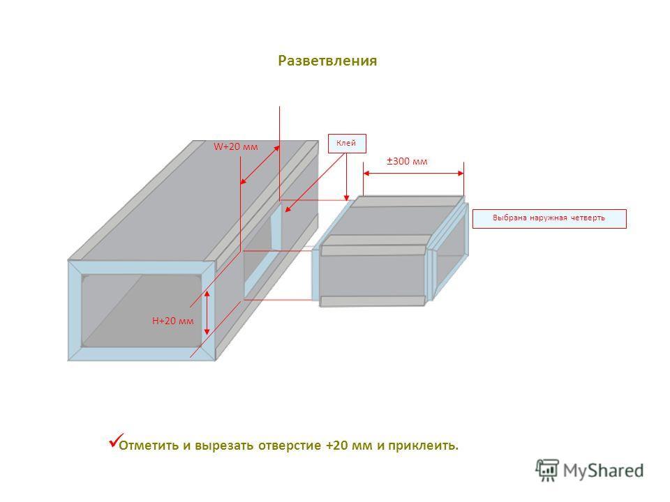 Отметить и вырезать отверстие +20 мм и приклеить. H+20 мм W+20 мм Клей ±300 мм Выбрана наружная четверть Разветвления