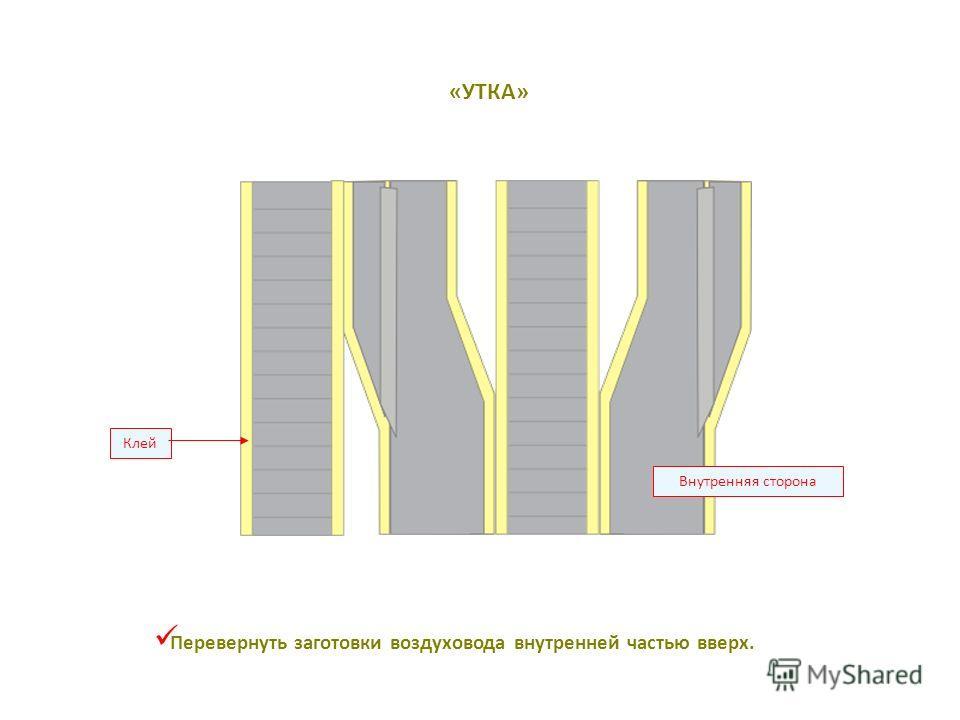 Клей Внутренняя сторона Перевернуть заготовки воздуховода внутренней частью вверх. «УТКА»