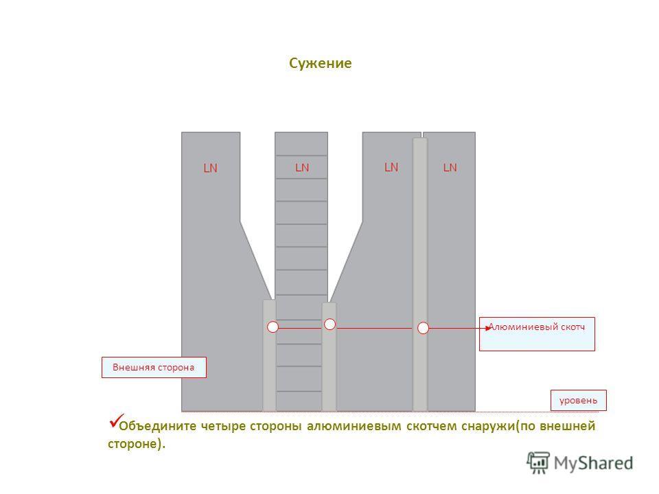 уровень Алюминиевый скотч Внешняя сторона Объедините четыре стороны алюминиевым скотчем снаружи(по внешней стороне). Сужение