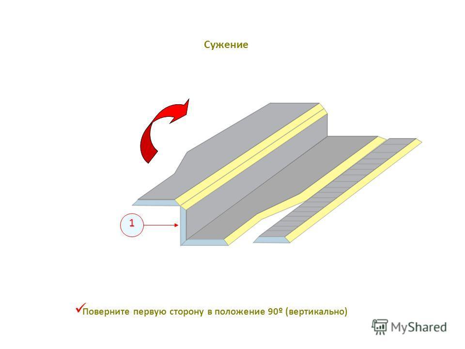 1 Поверните первую сторону в положение 90º (вертикально) Сужение