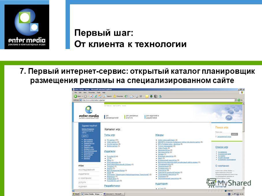 Первый шаг: От клиента к технологии 7. Первый интернет-сервис: открытый каталог планировщик размещения рекламы на специализированном сайте