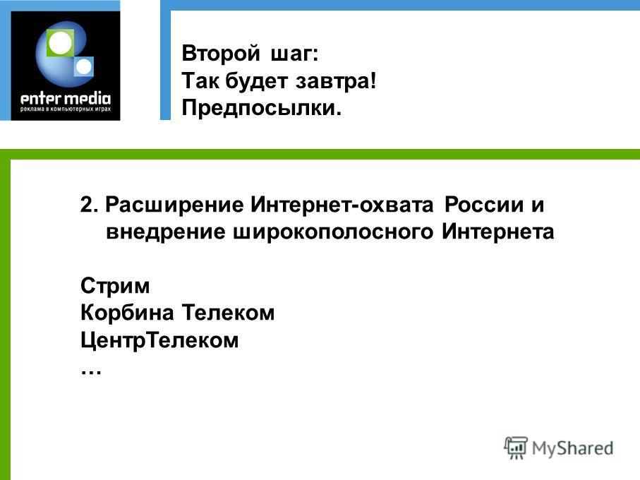 Второй шаг: Так будет завтра! Предпосылки. 2. Расширение Интернет-охвата России и внедрение широкополосного Интернета Стрим Корбина Телеком ЦентрТелеком …