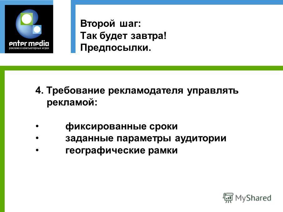 Второй шаг: Так будет завтра! Предпосылки. 4. Требование рекламодателя управлять рекламой: фиксированные сроки заданные параметры аудитории географические рамки
