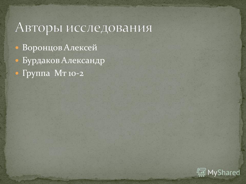 Воронцов Алексей Бурдаков Александр Группа Мт 10-2