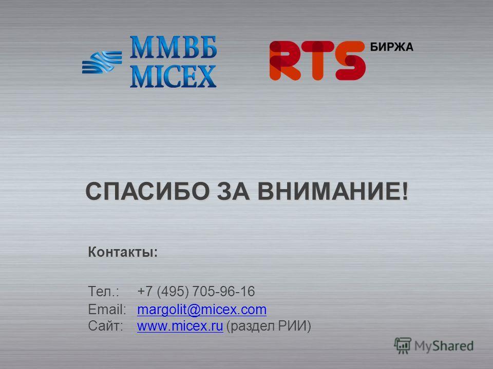 СПАСИБО ЗА ВНИМАНИЕ! Контакты: Tел.:+7 (495) 705-96-16 Email:margolit@micex.com Сайт: www.micex.ru (раздел РИИ)margolit@micex.comwww.micex.ru