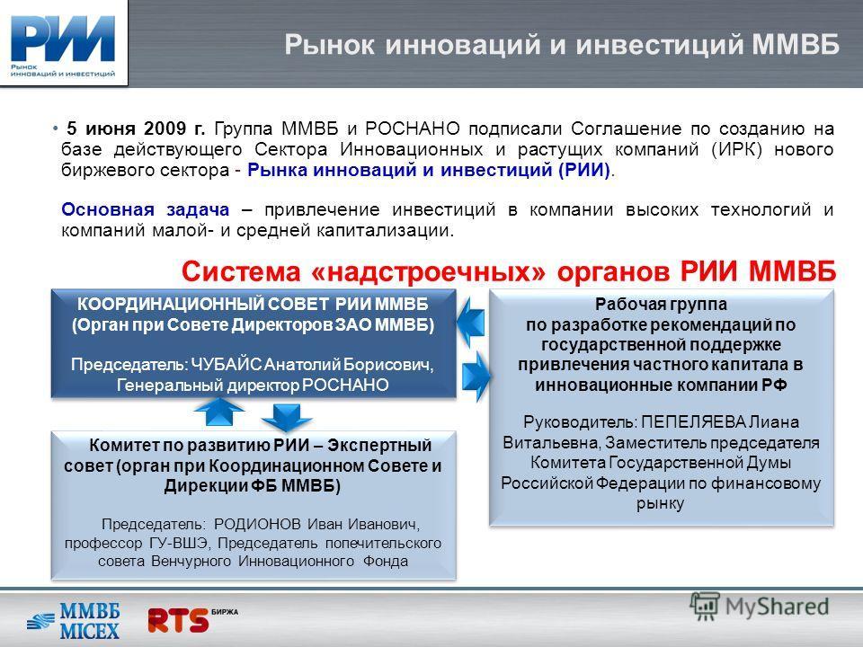 Рынок инноваций и инвестиций ММВБ 5 июня 2009 г. Группа ММВБ и РОСНАНО подписали Соглашение по созданию на базе действующего Сектора Инновационных и растущих компаний (ИРК) нового биржевого сектора - Рынка инноваций и инвестиций (РИИ). Основная задач