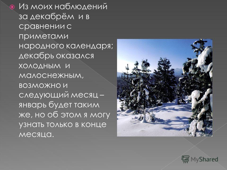 Из моих наблюдений за декабрём и в сравнении с приметами народного календаря; декабрь оказался холодным и малоснежным, возможно и следующий месяц – январь будет таким же, но об этом я могу узнать только в конце месяца.