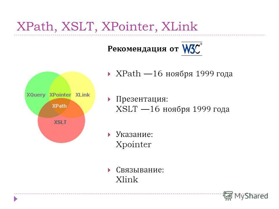 XPath, XSLT, XPointer, XLink Рекомендация от W3C XPath 16 ноября 1999 года Презентация : XSLT 16 ноября 1999 года Указание : Xpointer Связывание : Xlink