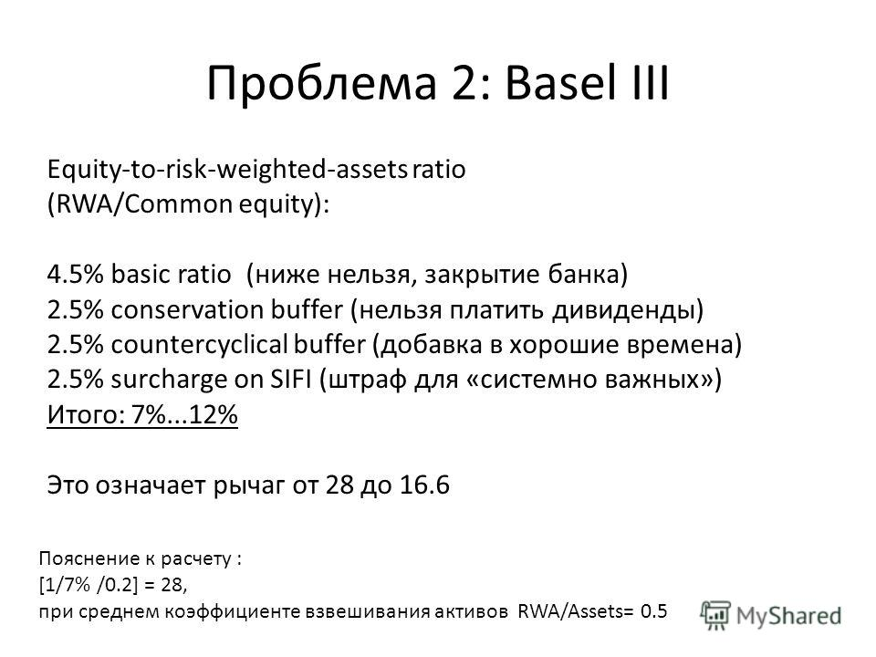 Проблема 2: Basel III Equity-to-risk-weighted-assets ratio (RWA/Common equity): 4.5% basic ratio (ниже нельзя, закрытие банка) 2.5% conservation buffer (нельзя платить дивиденды) 2.5% countercyclical buffer (добавка в хорошие времена) 2.5% surcharge