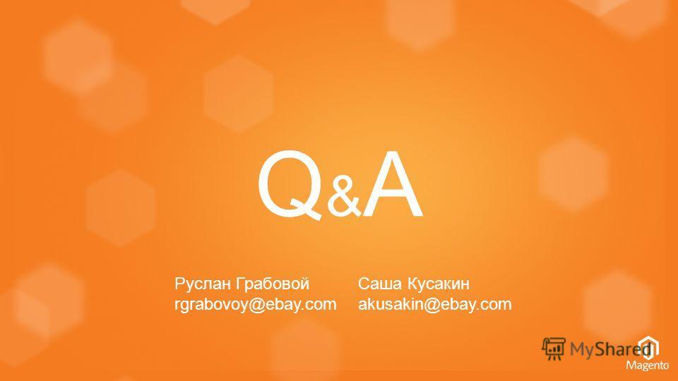 Q&AQ&A Руслан Грабовой rgrabovoy@ebay.com Саша Кусакин akusakin@ebay.com