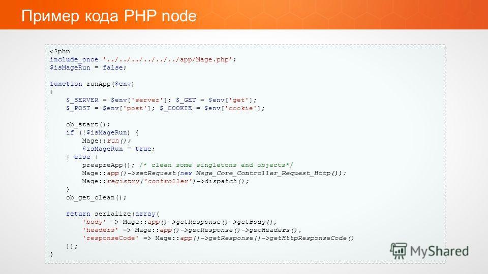 Пример кода PHP node