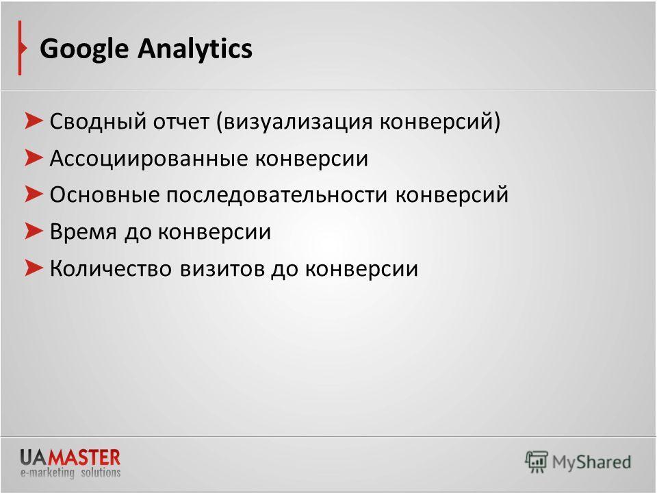 Google Analytics Сводный отчет (визуализация конверсий) Ассоциированные конверсии Основные последовательности конверсий Время до конверсии Количество визитов до конверсии