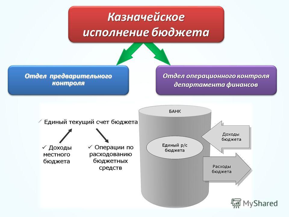 Казначейское исполнение бюджета Казначейское Отдел предварительного контроля Отдел операционного контроля департамента финансов