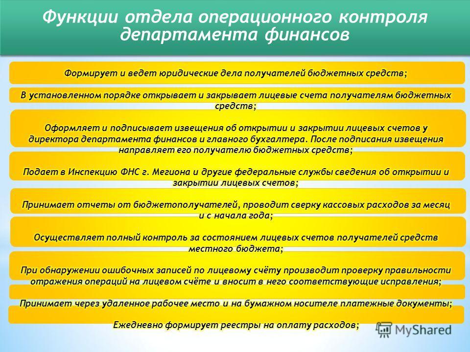 Функции отдела операционного контроля департамента финансов Функции отдела операционного контроля департамента финансов
