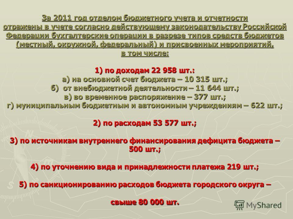 За 2011 год отделом бюджетного учета и отчетности отражены в учете согласно действующему законодательству Российской Федерации бухгалтерские операции в разрезе типов средств бюджетов (местный, окружной, федеральный) и присвоенных мероприятий, в том ч