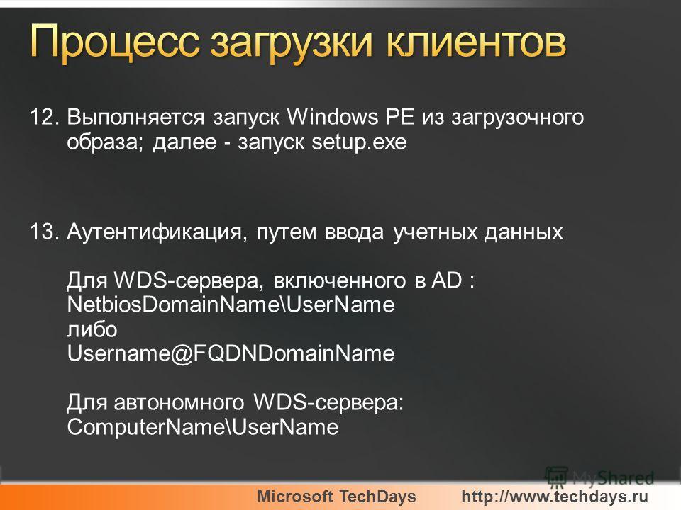 Microsoft TechDayshttp://www.techdays.ru 12.Выполняется запуск Windows PE из загрузочного образа; далее запуск setup.exe 13.Аутентификация, путем ввода учетных данных Для WDS-сервера, включенного в AD : NetbiosDomainName\UserName либо Username@FQDNDo