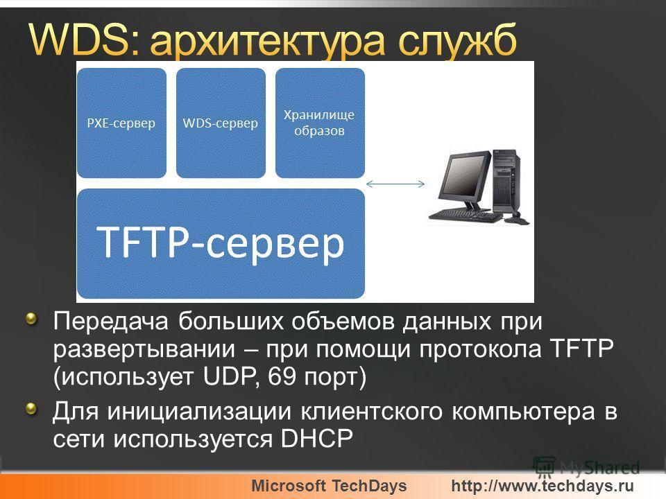 Microsoft TechDayshttp://www.techdays.ru Передача больших объемов данных при развертывании – при помощи протокола TFTP (использует UDP, 69 порт) Для инициализации клиентского компьютера в сети используется DHCP