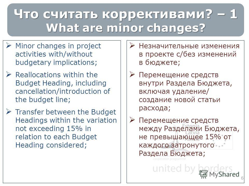 Что считать коррективами? – 1 What are minor changes? Minor changes in project activities with/without budgetary implications; Reallocations within the Budget Heading, including cancellation/introduction of the budget line; Transfer between the Budge