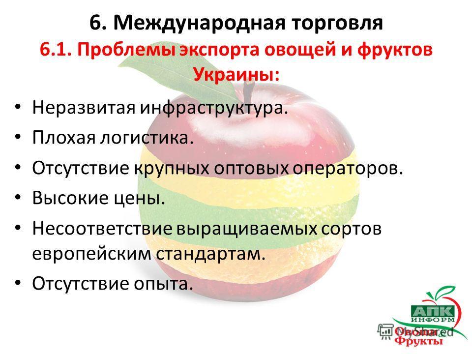 Неразвитая инфраструктура. Плохая логистика. Отсутствие крупных оптовых операторов. Высокие цены. Несоответствие выращиваемых сортов европейским стандартам. Отсутствие опыта. 6. Международная торговля 6.1. Проблемы экспорта овощей и фруктов Украины: