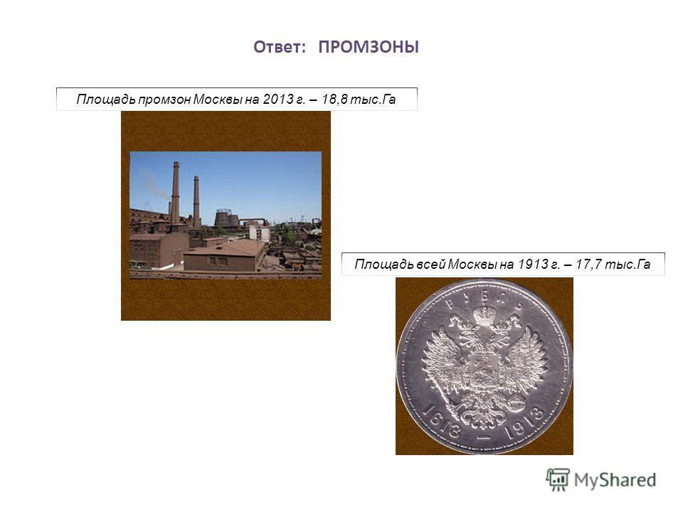 Ответ: ПРОМЗОНЫ Площадь промзон Москвы на 2013 г. – 18,8 тыс.Га Площадь всей Москвы на 1913 г. – 17,7 тыс.Га