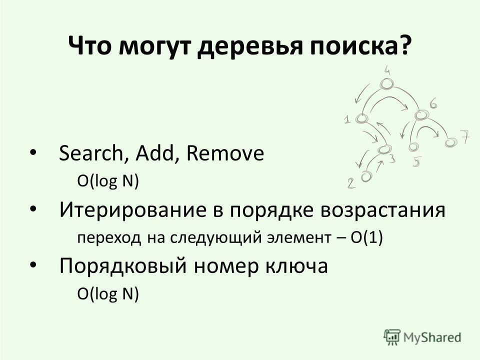 Что могут деревья поиска? Search, Add, Remove O(log N) Итерирование в порядке возрастания переход на следующий элемент – O(1) Порядковый номер ключа O(log N)