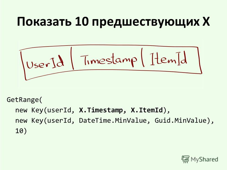 Показать 10 предшествующих X GetRange( new Key(userId, X.Timestamp, X.ItemId), new Key(userId, DateTime.MinValue, Guid.MinValue), 10)