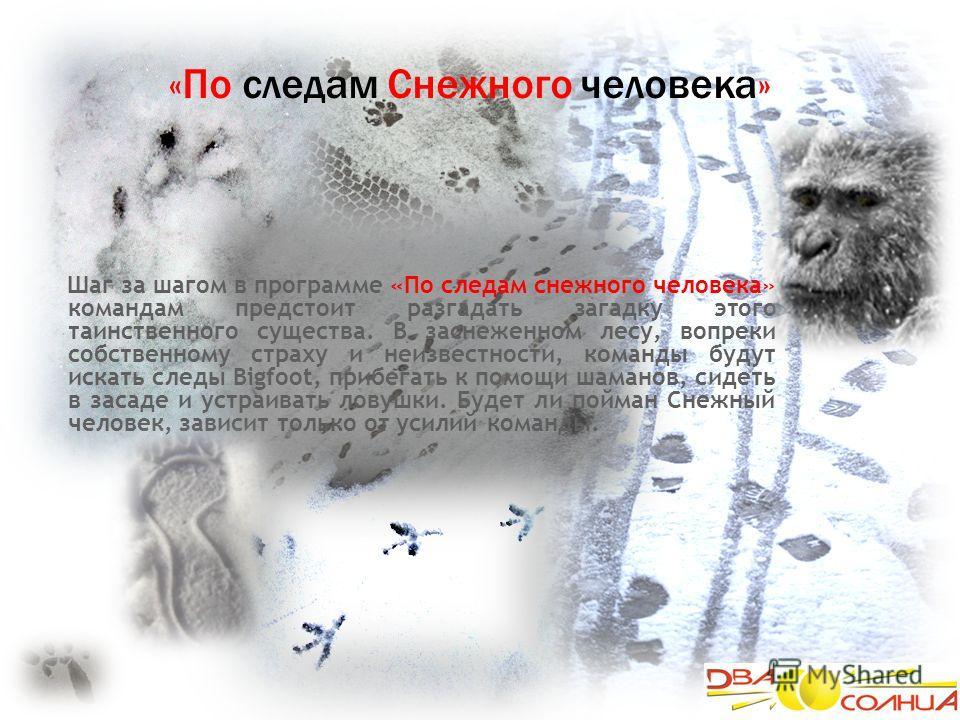 «По следам Снежного человека» Шаг за шагом в программе «По следам снежного человека» командам предстоит разгадать загадку этого таинственного существа. В заснеженном лесу, вопреки собственному страху и неизвестности, команды будут искать следы Bigfoo