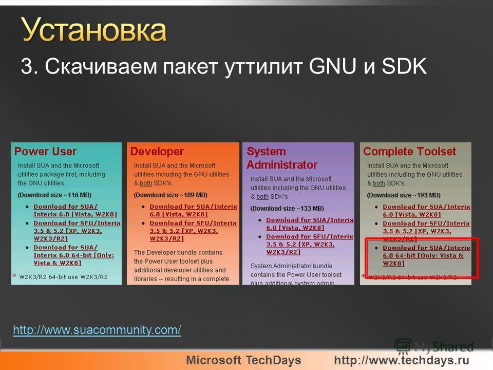 Microsoft TechDayshttp://www.techdays.ru 3. Скачиваем пакет уттилит GNU и SDK http://www.suacommunity.com/