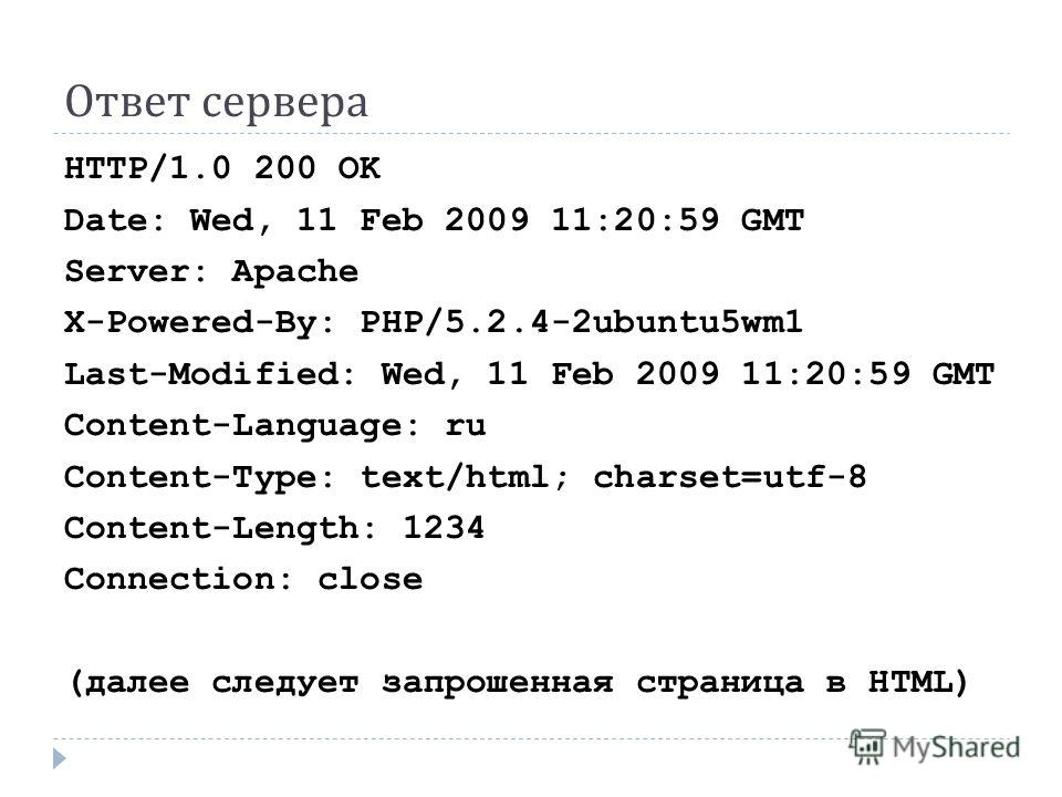 Ответ сервера HTTP/1.0 200 OK Date: Wed, 11 Feb 2009 11:20:59 GMT Server: Apache X-Powered-By: PHP/5.2.4-2ubuntu5wm1 Last-Modified: Wed, 11 Feb 2009 11:20:59 GMT Content-Language: ru Content-Type: text/html; charset=utf-8 Content-Length: 1234 Connect