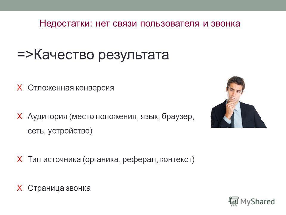 Недостатки: нет связи пользователя и звонка =>Качество результата XОтложенная конверсия XАудитория (место положения, язык, браузер, сеть, устройство) XТип источника (органика, реферал, контекст) XСтраница звонка