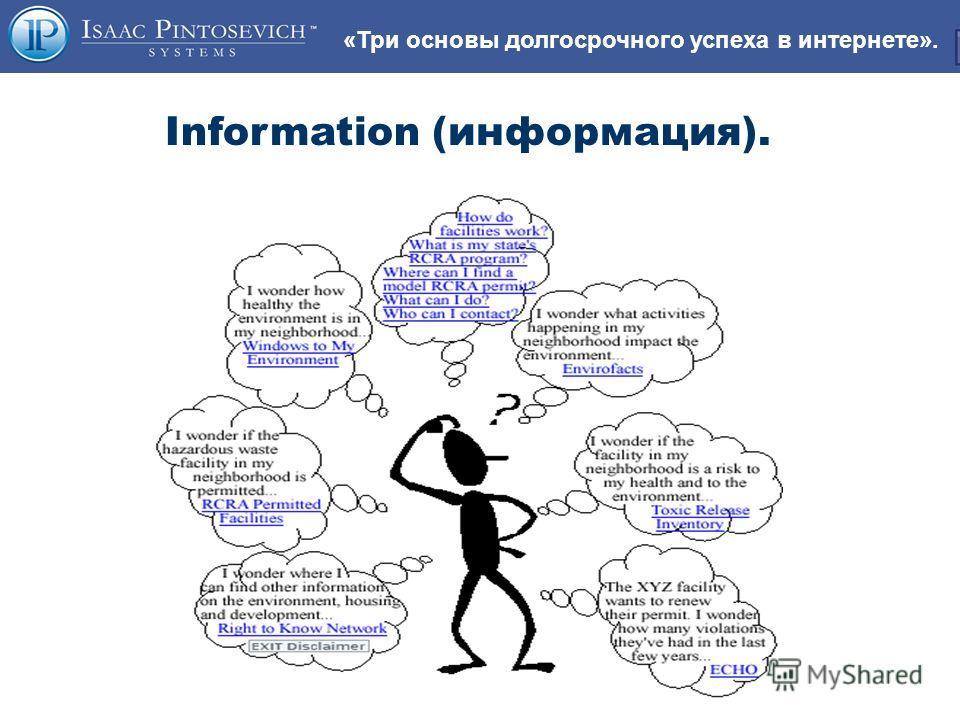 «Три основы долгосрочного успеха в интернете». Information (информация).