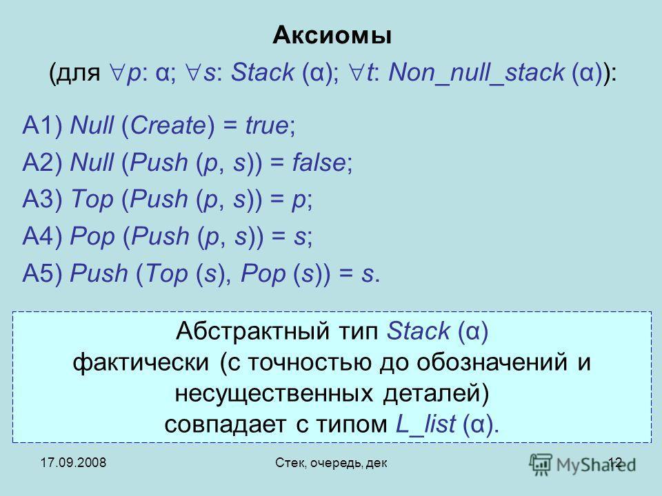 17.09.2008Стек, очередь, дек12 Аксиомы (для p: α; s: Stack (α); t: Non_null_stack (α)): A1) Null (Create) = true; A2) Null (Push (p, s)) = false; A3) Top (Push (p, s)) = p; A4) Pop (Push (p, s)) = s; A5) Push (Top (s), Pop (s)) = s. Абстрактный тип S