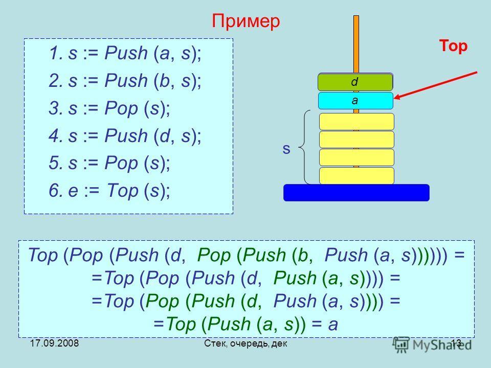17.09.2008Стек, очередь, дек13 Пример 1.s := Push (a, s); 2.s := Push (b, s); 3.s := Pop (s); 4.s := Push (d, s); 5.s := Pop (s); 6.e := Top (s); Top (Pop (Push (d, Pop (Push (b, Push (a, s)))))) = =Top (Pop (Push (d, Push (a, s)))) = =Top (Push (a,