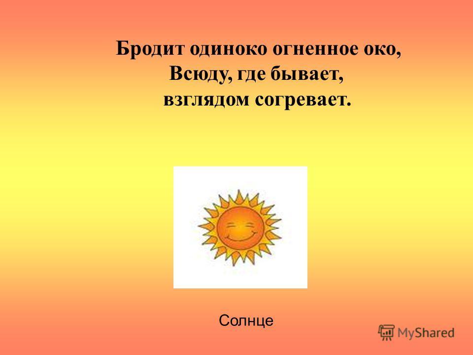 Бродит одиноко огненное око, Всюду, где бывает, взглядом согревает. Солнце