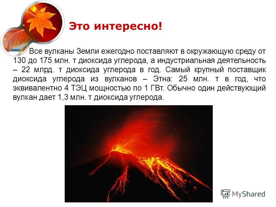 Все вулканы Земли ежегодно поставляют в окружающую среду от 130 до 175 млн. т диоксида углерода, а индустриальная деятельность – 22 млрд. т диоксида углерода в год. Самый крупный поставщик диоксида углерода из вулканов – Этна: 25 млн. т в год, что эк
