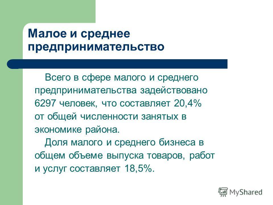 Всего в сфере малого и среднего предпринимательства задействовано 6297 человек, что составляет 20,4% от общей численности занятых в экономике района. Доля малого и среднего бизнеса в общем объеме выпуска товаров, работ и услуг составляет 18,5%.