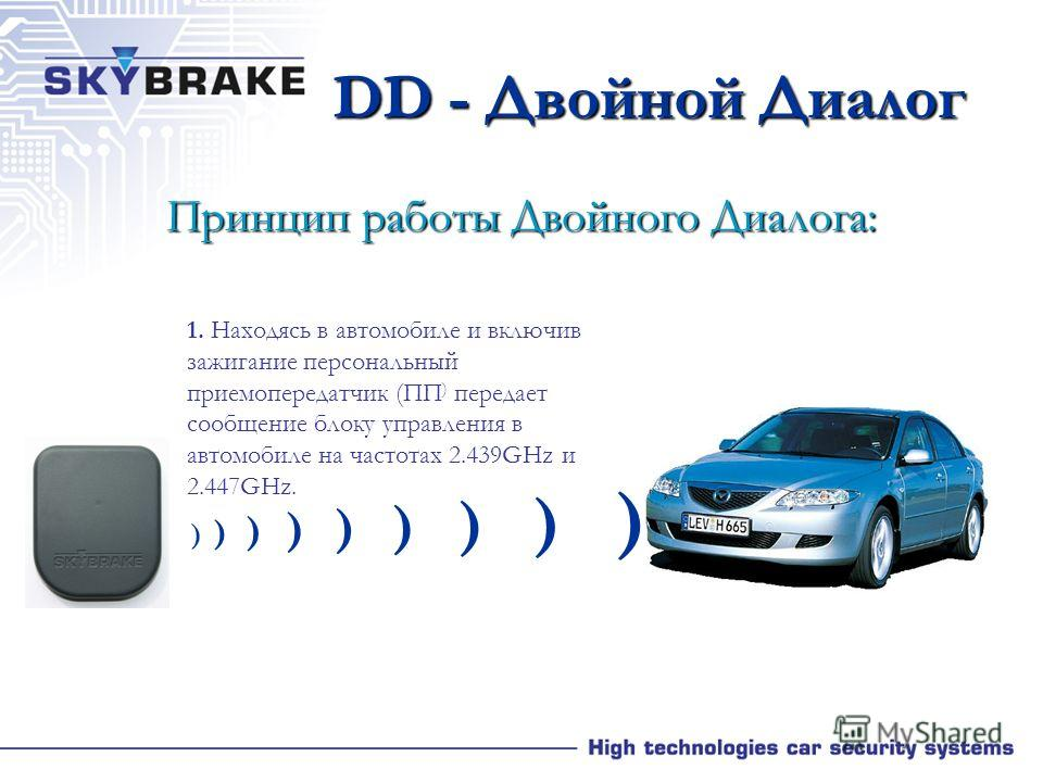 Преимущества Двойного Диалога (DD) Технология Двойного Диалога (DD) обеспечивает безпрерывную связь с блоком управления в автомобиле, используя меняющиеся коды и меняющиеся (более 120) каналы в диапазоне 2,4 GHz. Уникальность данной технологии в том,