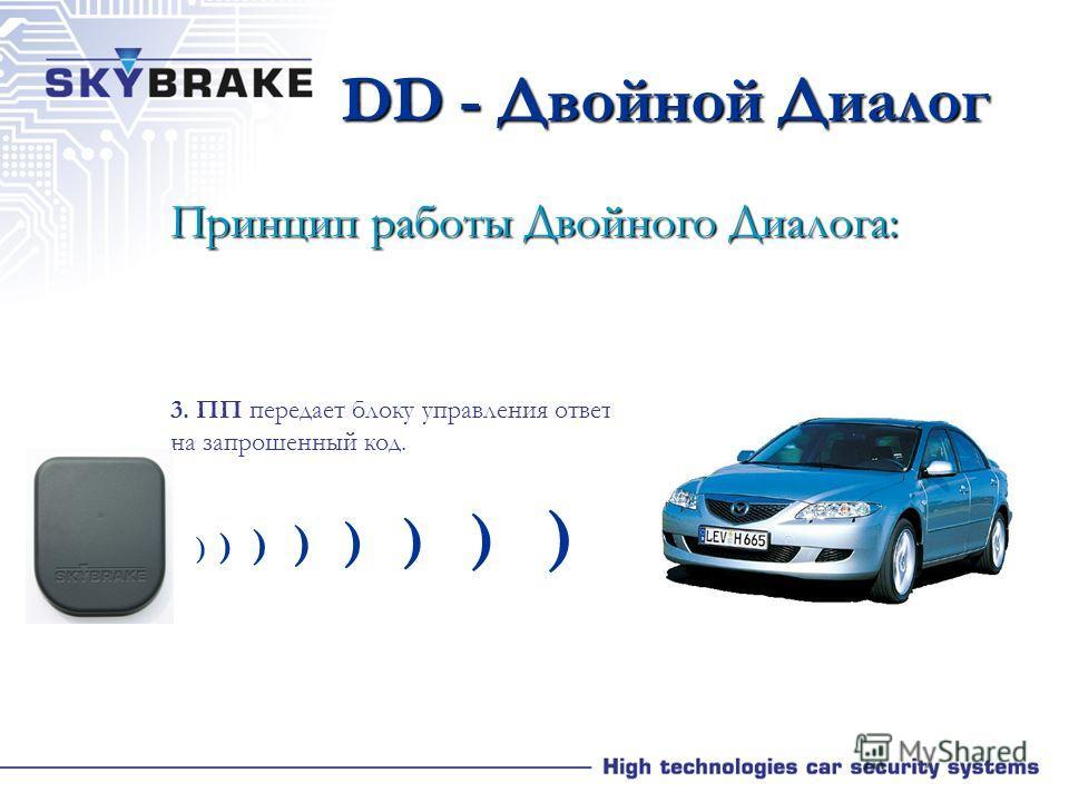 DD - Двойной Диалог Принцип работы Двойного Диалога: 2. Если блок управления в автомобиле получил сигнал от ПП, тогда тот ответит, включив в сигнал информа- цию об автомобиле на данный мо- мент, а также о количестве активных ПП в системе. Информация,