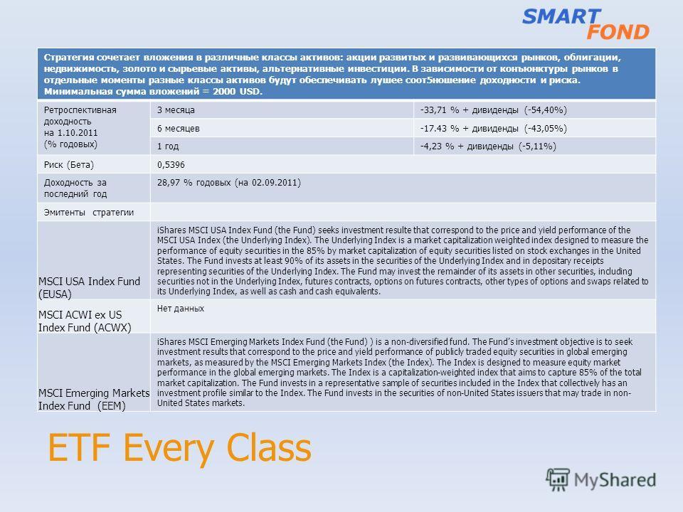 ETF Every Class Стратегия сочетает вложения в различные классы активов: акции развитых и развивающихся рынков, облигации, недвижимость, золото и сырьевые активы, альтернативные инвестиции. В зависимости от конъюнктуры рынков в отдельные моменты разны