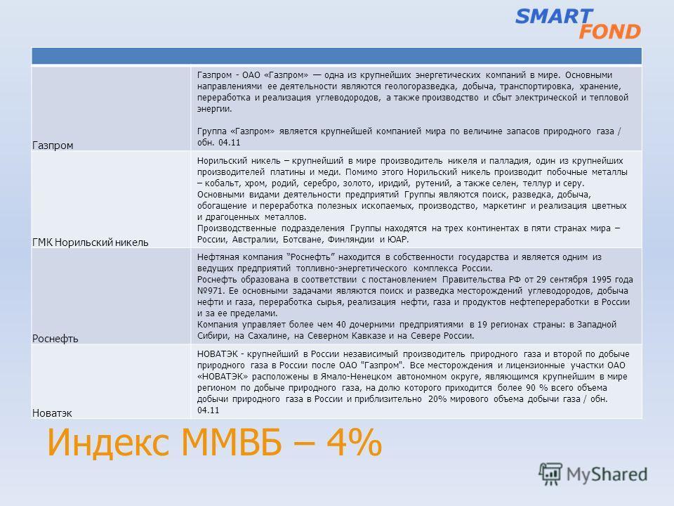 Индекс ММВБ – 4% Газпром Газпром - ОАО «Газпром» одна из крупнейших энергетических компаний в мире. Основными направлениями ее деятельности являются геологоразведка, добыча, транспортировка, хранение, переработка и реализация углеводородов, а также п