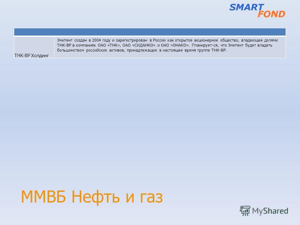 ММВБ Нефть и газ ТНК-BP Холдинг Эмитент создан в 2004 году и зарегистрирован в России как открытое акционерное общество, владеющее долями ТНК-ВР в компаниях ОАО «ТНК», ОАО «СИДАНКО» и ОАО «ОНАКО». Планирует-ся, что Эмитент будет владеть большинством